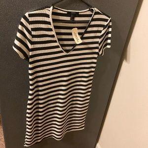 Black & white stripped v-neck dress